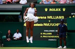 Williams celebrates her win.