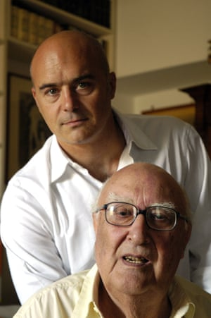 Andrea Camilleri with the actor Luca Zingaretti, who plays Montalbano in the TV adaptation of Camilleri's novels.