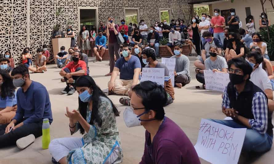 A student protests in support of Mehta at Ashoka University on Thursday