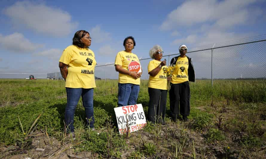 Lavigne, with, from left, Myrtle Felton, Gail LeBoeuf and Rita Cooper, members of Rise St James, campaigning last year against a proposed $9.4bn chemical plant owned by a Taiwanese company.