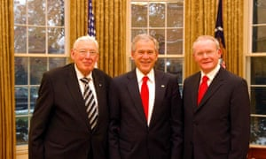 Ian Paisley, George W Bush and Martin McGuinness at the Oval office in 2007.