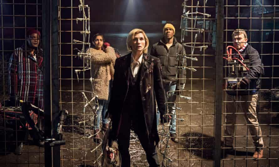 Jodie Whittaker (centre) debuts as the Doctor.