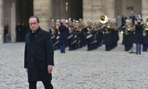 Francois Hollande at the Paris attacks memorial