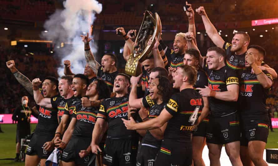 Penrith Panthers celebrate their 2021 NRL premiership after defeating South Sydney Rabbitohs in the grand final in Brisbane.