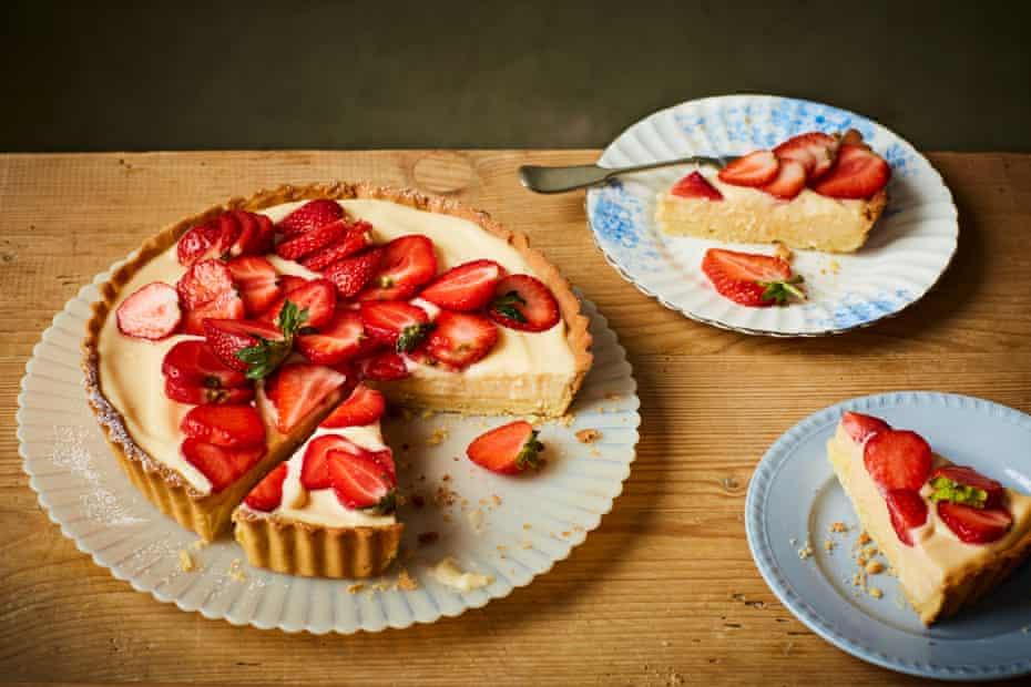 Rachel Roddy's custard tart with strawberries.