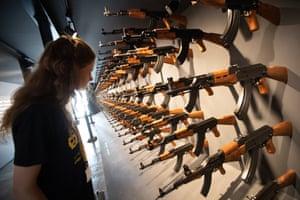 An installation made of 140 Kalashnikov guns in the exhibition nineties berlin