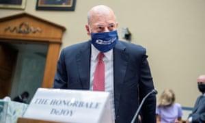 Louis DeJoy testifies before lawmakers in August.