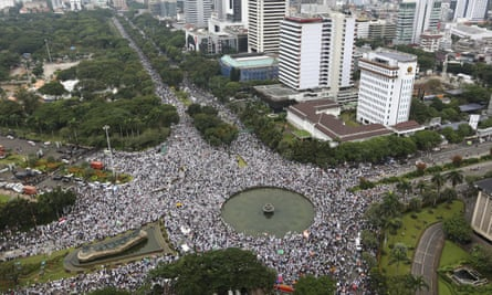 Protesters gather for a protest against minority Christian governor Basuki 'Ahok' Tjahaja Purnama at the main business district in Jakarta in March 2017.