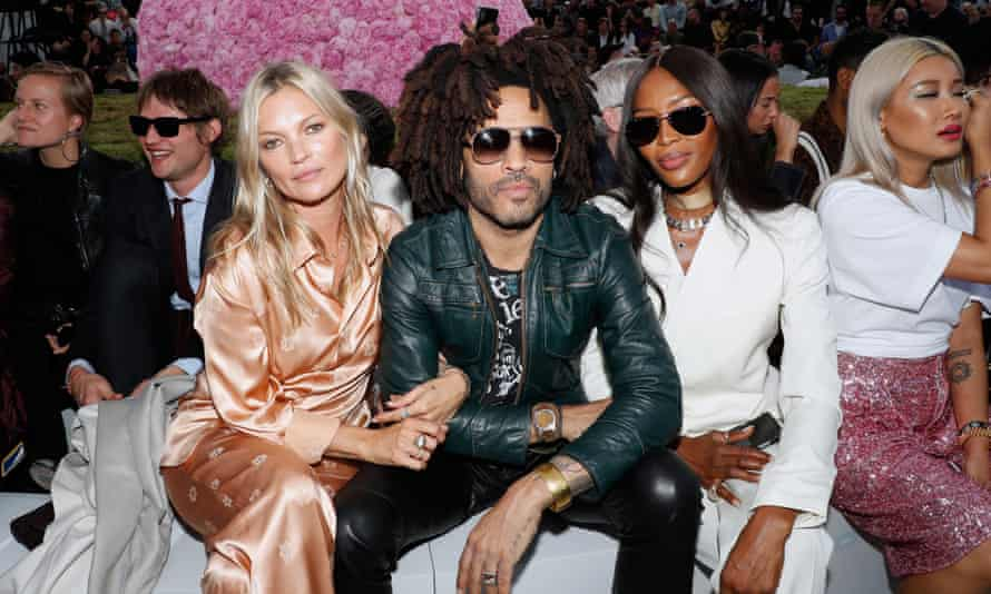 Kate Moss, Lenny Kravitz and Naomi Campbell on the front row.