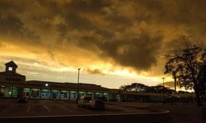 Storm clouds gather as Tropical Storm Dorian moves toward St Michael Parish, Barbados, Monday.