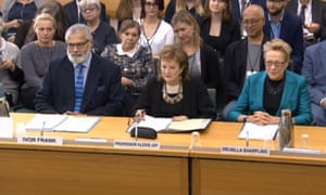 Drusilla Sharpling (right) alongside Ivor Frank and Alexis Jay at the select committee hearing.