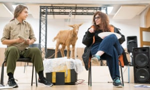 Isabella Nefar and Souad Faress with an animal in rehearsal for Goats at the Royal Court.