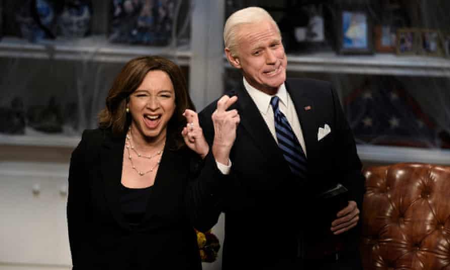 Maya Rudolph as Kamala Harris and Jim Carrey as Joe Biden. Carrey announced his departure from Saturday Night Live a week ago.