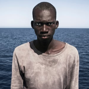 Amadou Sumaila photographed by César Dezfuli, 20 nautical miles off the Libyan coast – this year's winning portrait.