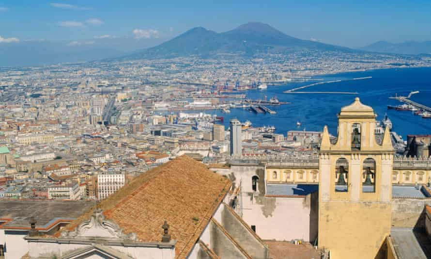 View over Naples and its bay towards Mount Vesuvius.