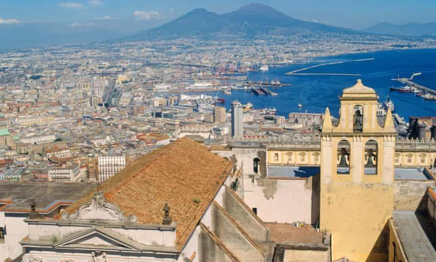 View over Naples with Vesuvius behind