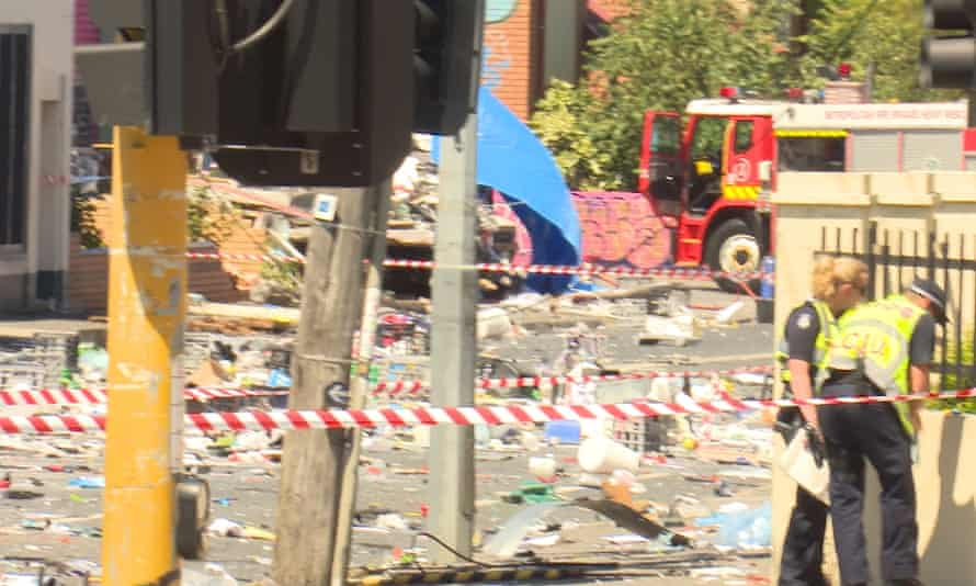 The scene after the truck explosion in Footscray, Melbourne, on Tuesday.