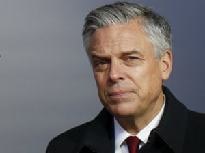 Jon Huntsman attends a ceremony at the Jewish Museum and Center for Tolerance in Moscow.