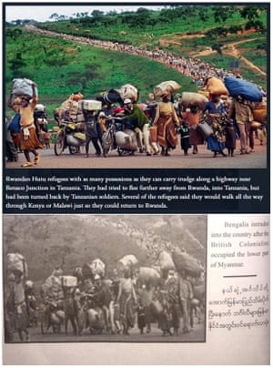 The image of Hutus fleeing Rwanda in 1996 (top) taken by Martha Rial for the Pittsburgh Post-Gazette appears in the Myanmar army's recently published book, purporting to show Rohingya entering the country.