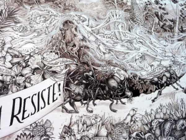A closeup of Mesoamerica is fighting back! by the Beehive Collective