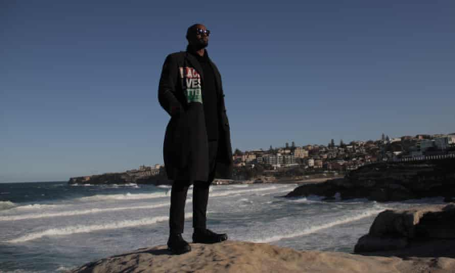 Black Lives Matter campaigner Hawk Newsome in Sydney. He says the situation for black people in the US 'has worsened'.