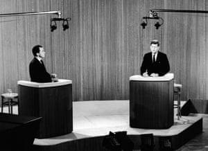 Republican vice-president Richard Nixon and Democratic senator John F Kennedy take part in the televised presidential debate in 1960, the first in which television became a major factor in campaigns