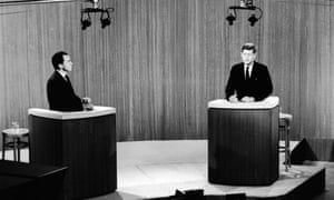 Republican vice president Richard Nixon (L) and Democrat senator John F. Kennedy take part in a televised debate during their presidential campaign, 1960.