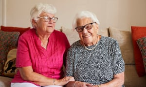KIPPAX, 07 September 2021 - Frances Heaton,100, who lives in a care home, visiting her daugheer Linda Barley in Kippax, West Yorkshire. Christopher Thomond for The Guardian.