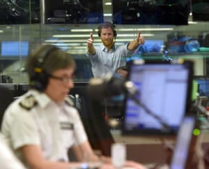Prince Harry gives a thumbs up in the BBC Radio 4 Today studio as he guest-edits the show