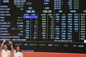 A screen shows the share price of Alibaba Group during the company's listing ceremony at the Hong Kong Stock Exchange (HKEX).
