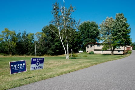 A sign supporting US President Donald Trump and US Vice President Mike Pence is seen in Reedsburg, Wisconsin, on August 16, 2020.
