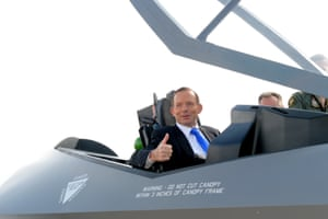 23 April 2014: The PM takes to the cockpit of a replica F35A joint strike fighter after he announced that Australia would be purchasing 58 more units, bringing the total force count to 72, at a cost of over $12bn. The fighters are not due to enter service until 2020. Abbott made the announcement at RAAF Fairbairn in Canberra.