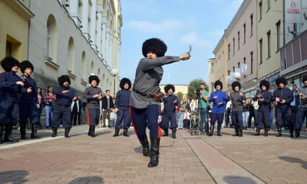 Russian Cossacks perform at a show on the main street in the west Bosnian town of Banja Luka.