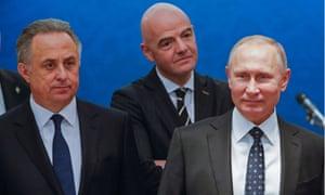 Infantino, Mutko and Putin