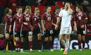 Lucy Bronze of England reacts after conceding second goal.