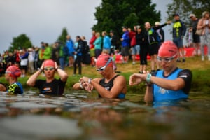 Roth, Germany Athletes compete in the swimming leg of the Datev Challenge Roth triathlon