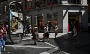 Shoppers in Madrid.