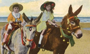 Tinted postcard of a BOY ('B'?) and a GIRL ('G'?) enjoying a donkey ride at Blackpool beach, 1919.