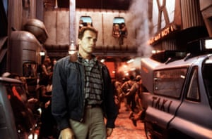 """Total Recall, 1990Created aesthetic for the Mars colony and mine complex. The operable taxi cabs, full sized """"mole"""" mining machines, the Marsliner spaceship, a squad car and a robotic taxi. Also designed the """"Recall' machine"""