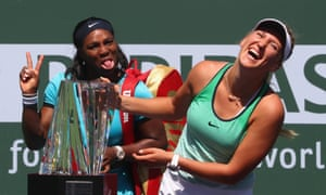 Victoria Azarenka appreciates Serena's good humour in defeat – while keeping one hand firmly on the trophy.