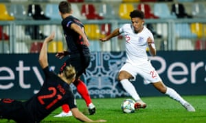 The 18-year-old Jadon Sancho gives the Croatia defence plenty to think about during his brief England debut in the goalless draw in Rijeka.