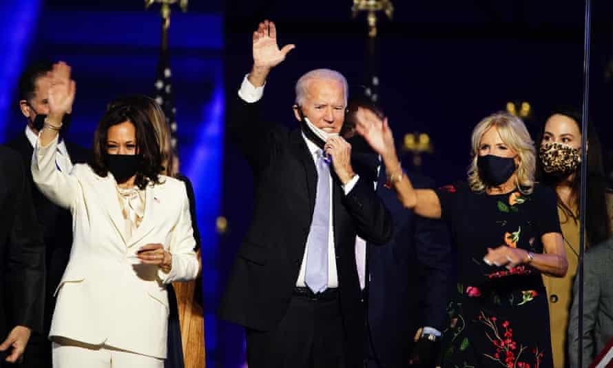 Left to right, vice president-elect Kamala Harris, president-elect Joe Biden and first lady designate Jill Biden after Biden's victory speech.
