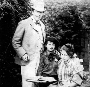 Oscar Wilde with his wife Constance and one of their sons