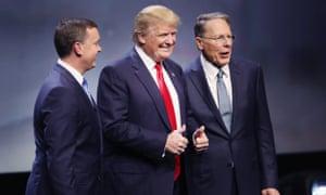 Donald Trump with Chris Cox (left) and Wayne LaPierre,