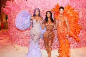 Kylie Jenner and Kendall Jenner twinned in embellished Versace gowns in 2019, while Kim Kardashian West opted for a wet-look Thierry Mugler dress. The theme? Camp: Notes on Fashion.