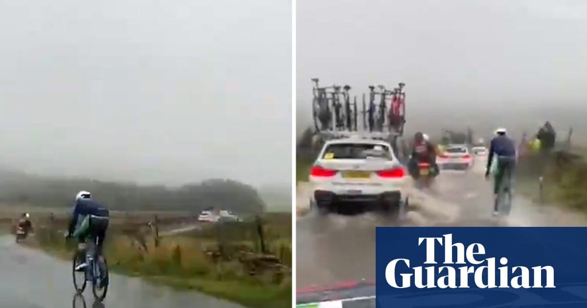 Cycling: heavy rain and flooding at world championships in Yorkshire – video