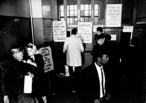 The scene at a union office in Ensign Street in Stepney, east London in May 1966 as members of the National Union of Seamen, including ship's laundry workers, collect their £3 strike money