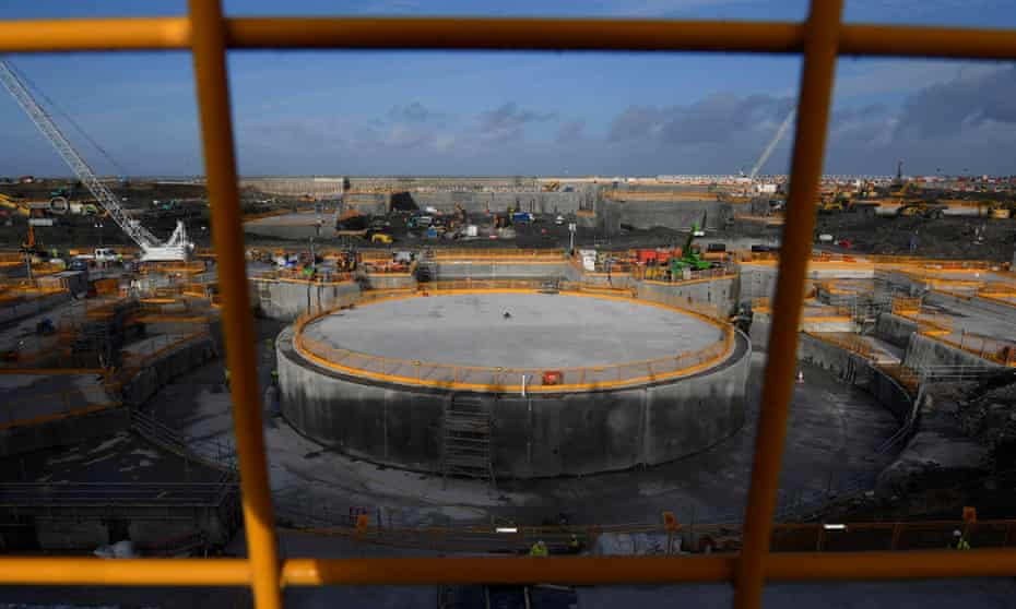 Construction including one of two 'nuclear islands' at the Hinkley Point C nuclear power station near Cannington, south-west England