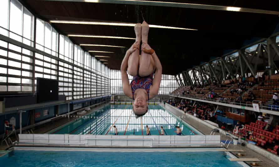 A member of Crystal Palace diving club during a training session in 2012