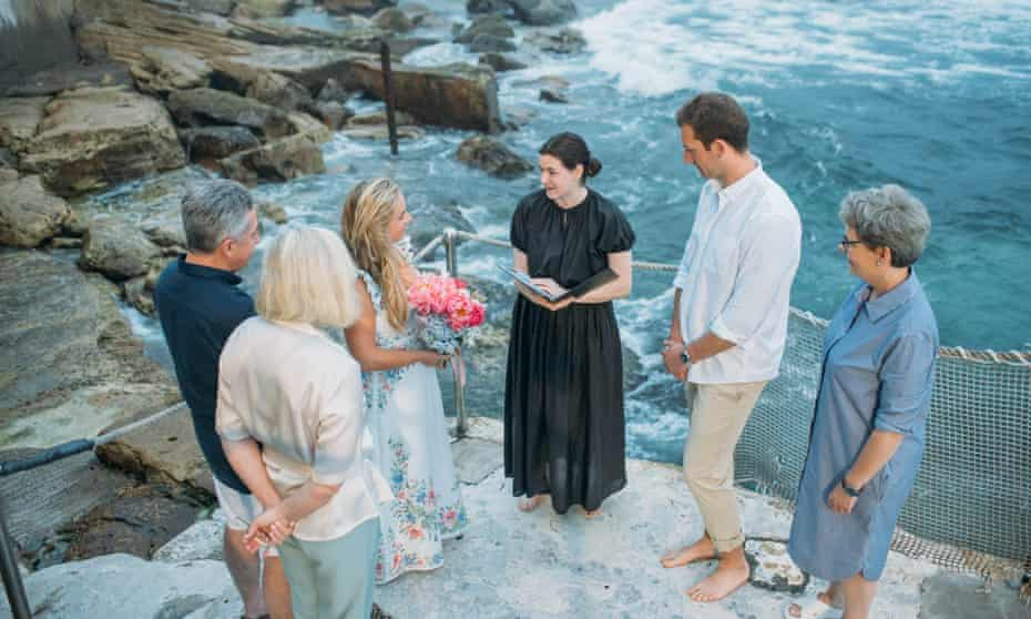 'It allowed us to. be present and real.' Anna Butler and George Tapp wed in a micro-wedding at Bronte Beach, officiated by Victoria Pearson